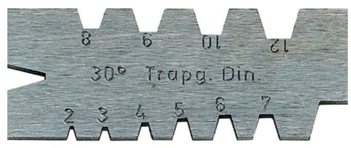 Шаблон для  трапецеидальной  резьбы    Tr 30°             2-12  мм