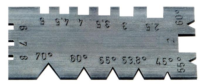 Шаблон для метрич. 60° и дюйм. 55° резьбы 45°-70°, 2-8 ниток на дюйм