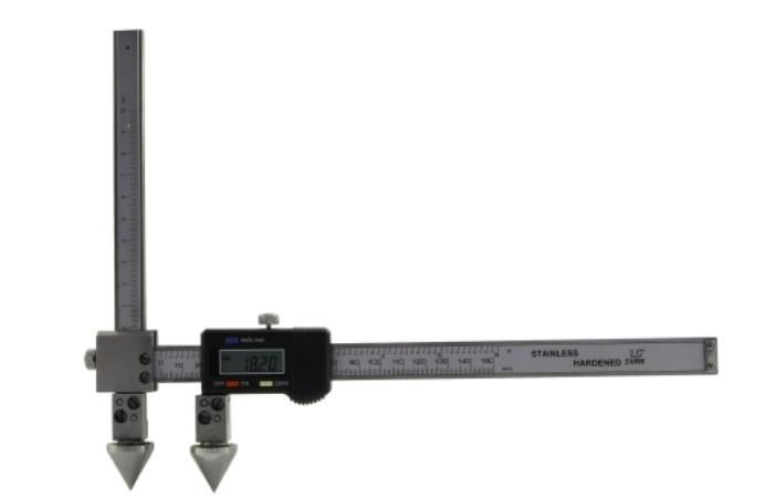 Штангенциркуль цифровой  ШЦЦО 20-200-0,01  для измерения расстояний м/у центрами отверстий с коническими вставками и подвижной измерительной губкой