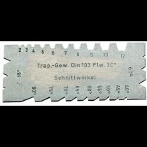 Шаблон для трапецеидальной и упорной резьбы 55°/ 60°, 2-12 мм, 40°-80°